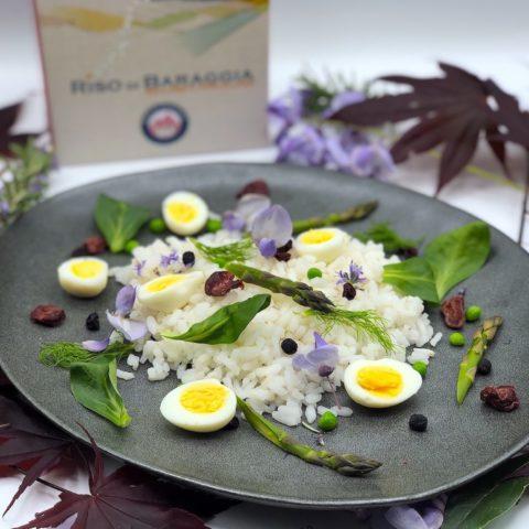 卡娜罗利(CARNAROLI)米饭沙拉,佐以鸡蛋和新鲜蔬菜